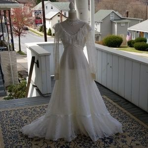 Vintage 70s Handmade Boho Prairie Wedding Dress